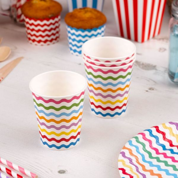 Carnival Multi Coloured Paper Cups - Waves (8)